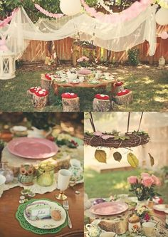 Enchanted Forest Party Theme Ideas for Kids' Birthday - Children's Party - Fairy Birthday Party, Garden Birthday, Birthday Ideas, 5th Birthday, Birthday Wishes, Birthday Parties, Happy Birthday, Fairy Tea Parties, Garden Parties