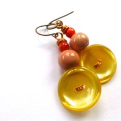 Mustard Yellow with Peach Button Earrings by buttonsoupjewelry, $9.00