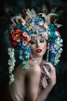 Garden Fearie silk floral headdress is in full bloom with an a array of soft pretty Summer garden colorations in pinks and blues atop ivory coque