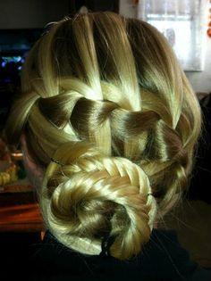 Waterfall braid into a fishtail braided bun