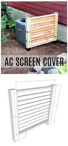 A DIY tutorial to build an AC screen fence panel using Simpson Strong-Tie EZ spikes. Hide that unsightly AC unit with a louvered screen. #strongtie #outdoorprojects