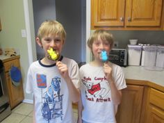 My two boys enjoying their creations!- (MY NEPHEWS ONE THE RICE CRISPY CONTEST!!!)