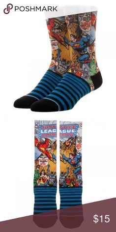 Justice League Comic Sublimated Panel Men's Socks This pair of socks has a sublimated image panel of many of your favorite superheroes from the Justice League!   There's Green Lantern, Flash, Wonder Woman, Batman, Superman, Shazam, Robin, and more!  Officially licensed, made by Bioworld.  Theme:  DC Comics - Officially Licensed Pattern:  Justice League Comic Sublimated Panel Style: Men's Crew Socks Fits Sock Size: 10-13 Fits Shoe Size: 8-12 Materials: 63% Polyester, 35% Cotton, 2% Spandex…