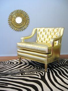 I wanna put on my gold hot pants and lounge in this chair dramatically. Vintage HOLLYWOOD REGENCY GLAM Button Tufted Gold Chair (by fabulousmess, $995.00)