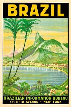 Rio de Janeiro Brazil Guanabara Bay 1930s Vintage Style Travel Poster - 24x36 #Vintage