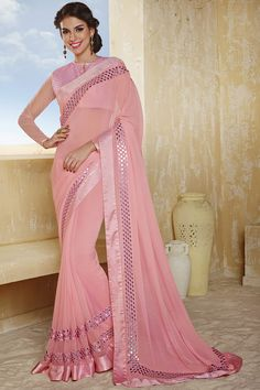 Pink Latest Style Party Wear Saree With Blouse From Skysarees.