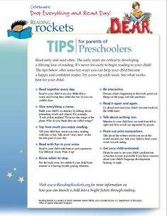 Reading tips for parents  English: Pre-K