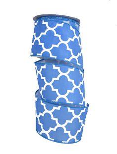 2.5 Moroccan Quatrefoil Ribbon Blue & White by CustomWreathDecor