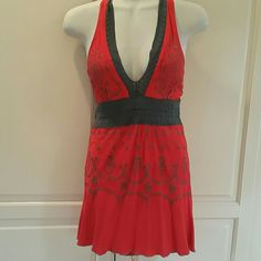 Halter Top Red and gray halter top. Worn once. Very light. Wuwatu Tops