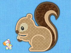 Squirrel  Embroidery Machine Applique Design  3 Sizes by Galeo
