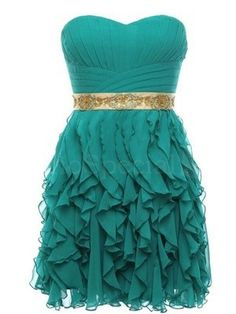 Cheap Ball Gown Sweetheart Chiffon Short Green Prom Dresses Gowns 2016, Formal…