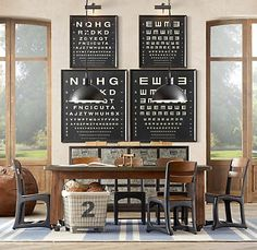 eye charts + vintage school chairs | j's room