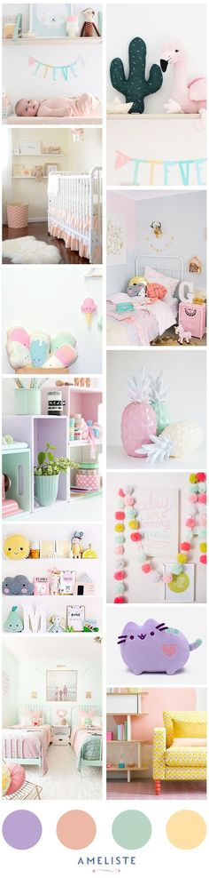 Mood Board nursery room // Baby room pastel for a baby girl // Decoration baby room #baby #deco