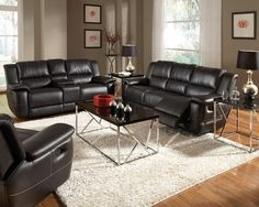 Bonded Leather Reclining Sofa Set Newport Beach, Black Sofa & Loveseat Set Huntington Beach, Black Sofa Set Anaheim