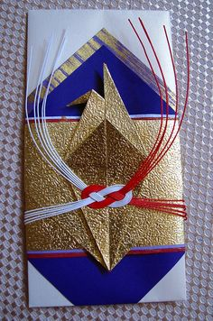 """Japanese"" Wedding envelope ... gold paper origami crane ... red and white mizuhiki knot ... beautiful!!"