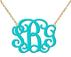 Monogram Acrylic Necklace Turquoise