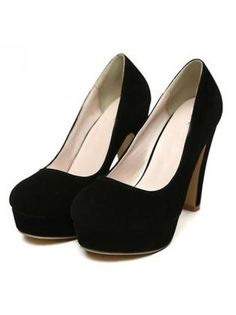 Platform Suede Black High Heels