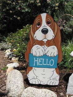 Beautiful art basset hound decor. other beautiful creations are available. Such a great addition to a home and or holidays!    Sweet Pea Yard Art  Hello by artfulhounds on Etsy, $55.00