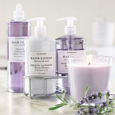 The Williams-Sonoma Essential Oils Collection, French Lavender on Williams-Sonoma.com is in every bathroom in my house.  I use the dish soap too!
