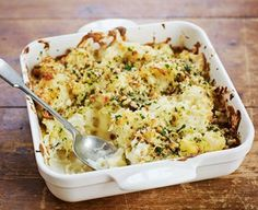 Cauliflower cheese gets more colourful with the addition of broccoli in this super Sunday lunch side dish, from BBC Good Food magazine. Good Healthy Snacks, Healthy Dinner Recipes, Bbc Good Food Recipes, Cooking Recipes, Yummy Food, Slow Roast Chicken, Cauliflower Cheese, Cauliflower Recipes, Food Shows