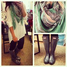 Rainy day outfit: Long cream tunic, black leggings, gray rain boots, colorful #Beautiful Dress  http://princessdresscollections.blogspot.com