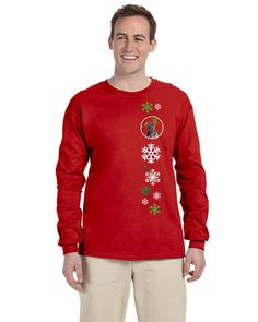 Staffordshire Bull Terrier Staffie Red Snowflakes Holiday Long Sleeve Red Unisex Tshirt Adult Small SC9753-LS-RED-S