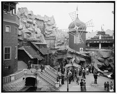 """The Old mill, Luna Park, Coney Island, New York 1905. This ride started life as """"The Babbling Brook"""" in 1903. It was a scenic outdoor water ride through simulated lakes and rivers. It was enclosed and converted to """"The Old Mill"""", tunnel of love ride in 1904"""