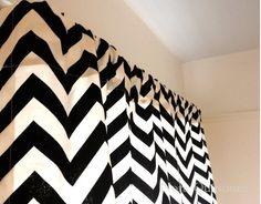 black and white chevron decorative curtain panels by NoraQuinonez