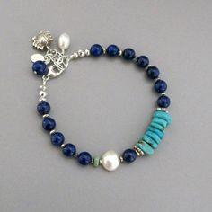 Lapis Lazuli Bracelet, Lapis Lazuli Jewelry, Silver Beads, Silver Jewelry, Crystal Jewelry, Jewelry Art, Jewellery, Beaded Jewelry Designs, Jewelry Crafts