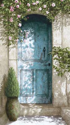 "Toile L "" la porte bleue""-Oliva blue-decoration de charme"