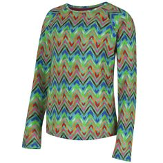 Oilily Girls Long Sleeved Multicoloured Zig-Zag Print T-Shirt. Available at www.chocolateclothing.co.uk