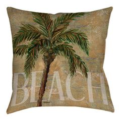 """Manual Woodworkers & Weavers Beach Palm Printed Throw Pillow Size: 18"""" H x 18"""" W x 5"""" D"""