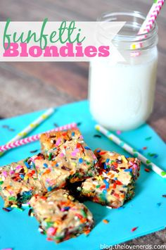 Funfetti Blondies - The perfect birthday treat! Sprinkles just make everything more festive! Plus I'm celebrating my birthday by giving some of you gifts!  {The Love Nerds}