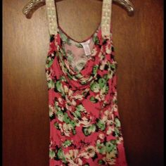 Dressy tank top.  Good used condition Light weight, flowery tank top.  Great with jeans or pants! Candie's Tops Tank Tops