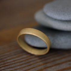 14k Yellow Gold Matte Wedding Band, Mens band in recycled 14k gold