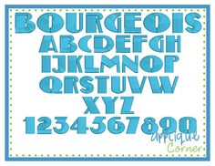 Bourgeois Embroidery Font - I think I like this font.