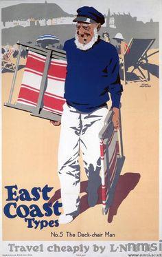 """illustration UK : Frank Newbould, 1931, affiche de tourisme, """"Deck Chair Man, East Coast Types"""", plage, transats, 1930s, balnéaire"""
