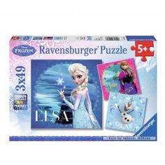 Disney Frozen Puzzel: Elsa, Anna en Olaf, 3x49st.