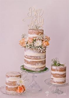 Naked cake trio with fresh flowers in peach and white made by Emma-Lee Cake Design, Sydney Australia. Topper: Communicake It https://www.facebook.com/emmaleecakedesign