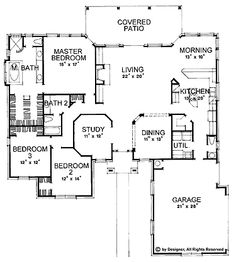 Floor Plans AFLFPW04541 - 1 Story New American Home with 3 Bedrooms, 2 Bathrooms and 2,387 total Square Feet