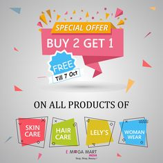 50 best special offers deals and discounts images on pinterest 20 e mega mart india special offer buy 2 get 1 free on all the products of skincare hair care lelys and womens wear hurry up now dont miss the fandeluxe Images