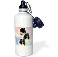 3dRose wb_1050_1 Black Sheltie Sports Water Bottle 21 oz White >>> Check out this great product.