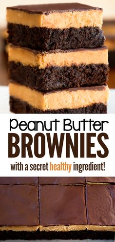 How to make the best chocolate peanut butter brownie recipe (no box) Brownies Recipe No Butter, Chocolate Peanut Butter Brownies, Peanut Butter Recipes, Peanut Butter Filling, Best Peanut Butter, Chocolate Cookies, Chocolate Hummus, Healthy Chocolate, Chocolate Recipes