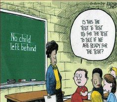 """In a funny response to this cartoon, a teacher friend of mine wrote...""""No, this is the test to replace the other test that tested the test before that test!"""" LOL!!"""
