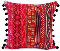 VLiving Bohemian Tribal with Black Pompom lace Acrylic Red Pink Throw Pillow Cover (Red Pink, 20 x 20 in. Pink Throws, Pink Throw Pillows, Throw Pillow Covers, Decorative Throw Pillows, Sequin Pillow, Pillow Protectors, Best Pillow, Bohemian Pillows, Red And Pink