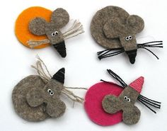 Felt brooch / embellishments from felt Mouse Crafts, Felt Crafts, Diy And Crafts, Crafts For Kids, Arts And Crafts, Felt Patterns, Stuffed Toys Patterns, Felt Christmas Ornaments, Christmas Crafts