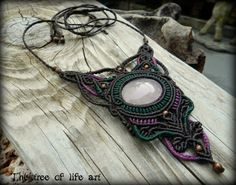 Macrame necklace with Crystal Pink Quartz & copper