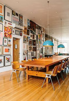 Large Loft living picture walls/Vintage Castelli chairs surround two custom dining tables by Herb Belrose/Interior design by Philip Iosca