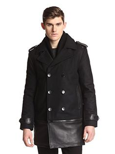 0fe653ca35ea Daniel Won Men s AXL Mix Media Peacoat with Zip Off Bottom (Black)