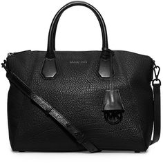 Michael Michael Kors Campbell Large Leather Satchel ($368) ❤ liked on Polyvore featuring bags, handbags, genuine leather purse, genuine leather satchel, satchel purse, accessories handbags and satchel style handbags